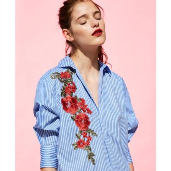 76965c389e Zara Striped Shirt Dress with embroidered flower!